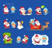 Claus and Snow Maiden Set Vector Illustration