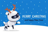 Merry Christmas Robotic Dog Vector Illustration