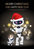 Merry Christmas Robot and Dog Vector Illustration