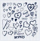 Hearts Hand Drawn Elements Written by Ink Pen