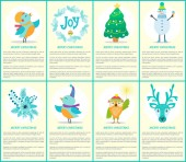 Merry Christmas Placards Text Vector Illustration