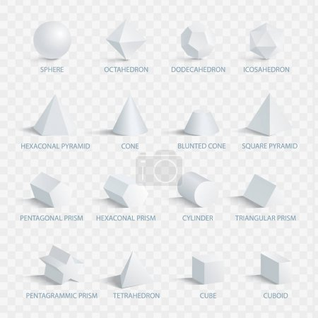 Illustration for Geometric 3D shapes with names vector illustration set isolated on transparent background. Collection of geometry figures in three dimensional shape - Royalty Free Image