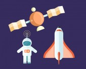 Spaceman and Flying Satellite with Rocket Poster