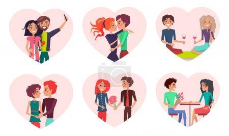 Illustration pour Couples dans l'amour et le bonheur, homme et femme prenant selfie, embrasser les gens, petite amie et petit ami assis dans un café isolé sur l'illustration vectorielle - image libre de droit