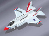 Isometric illustration of an airborne F-35 fighter jet in Thunderbirds Aerobatic Team colours