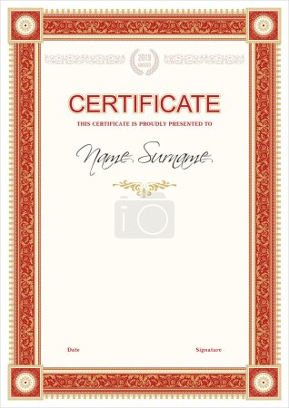 Illustration for Certificate or diploma retro vintage template - Royalty Free Image