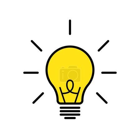 Illustration pour Icône isolée par lampe ou bulbe vectorielle. Illustration vectorielle. Symbole ides ou solution. Illustration de conception plate. Concept de la pensée. SPE 10 - image libre de droit