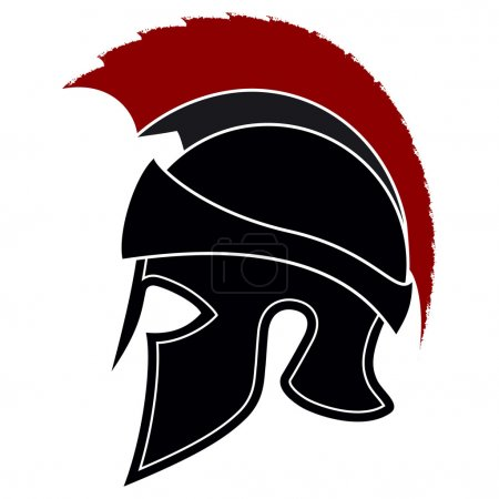 Silhouette Greek Helmet with a Red Crest on a White Background