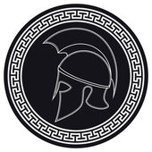 Ancient Greek Helmet with a Crest on the Shield on a White Backg