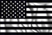 Black and White American Flag Rectangular Shaped Icon with Wavy