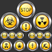 Danger and Caution Street Sign Set of Round Metal Icons