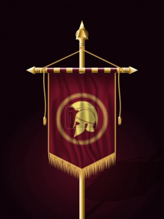 Illustration for Festive Banner Vertical Flag with Helmet of Warrior. Wall Hangings with Gold Tassel Fringing. Has Place for Inscription or Log - Royalty Free Image
