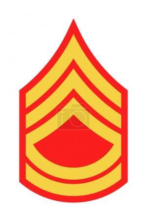 Illustration pour Grade et Insigne militaires. Rayures et Chevrons de l'Armée. Sergent de première classe - image libre de droit
