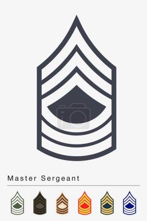 Illustration pour Grade et Insigne militaires. Rayures et Chevrons de l'Armée. Sergent-chef - image libre de droit