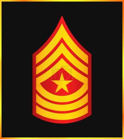 Illustration pour Grade et Insigne militaires. Rayures et Chevrons de l'Armée. Sergent major - image libre de droit