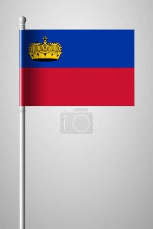 Flag of Liechtenstein. National Flag on Flagpole. Isolated Illus