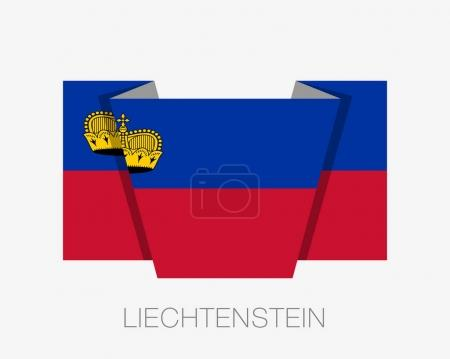 Flag of Liechtenstein. Flat Icon Waving Flag with Country Name