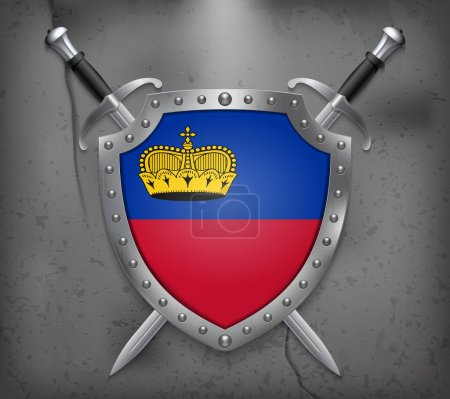 Flag of Liechtenstein. The Shield with National Flag. Two Crosse