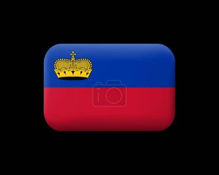 Flag of Liechtenstein. Matted Vector Icon and Button. Rectangula
