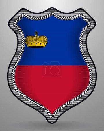 Flag of Liechtenstein. Vector Badge and Icon