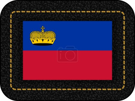 Flag of Liechtenstein. Vector Icon on Black Leather Backdrop