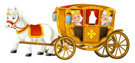 Photo for Happy and funny isolated scene with happy royal couple in vintage transportation - Royalty Free Image