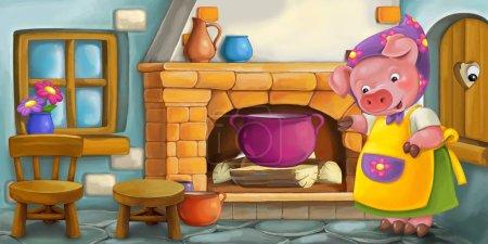 Photo pour Dessin animé mère cochon heureux dans la cuisine - pour différents contes de fées - illustration pour enfants - image libre de droit