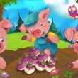 Cartoon happy and funny traditional scene with che...
