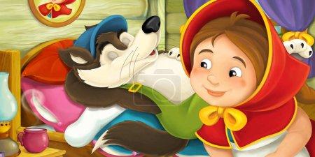Photo pour Dessin animé scène de ferme traditionnelle joyeuse et drôle avec loup et humain - pour différents contes de fées - illustration pour enfants - image libre de droit