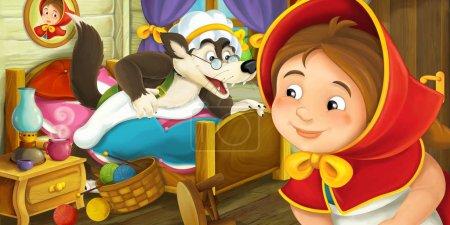 Photo pour Scène de bande dessinée de loup sautant du lit pendant que la fille regarde illustration pour les enfants - image libre de droit