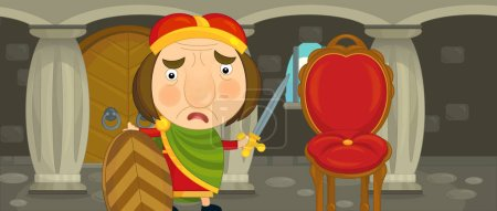 Cartoon king standing in castle chamber with sword and shield - for different usage - illustration for children