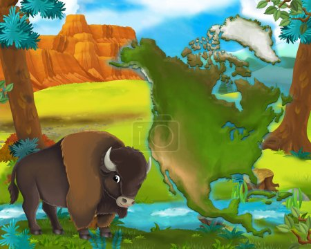 Cartoon buffalo with continent map - illustration for children