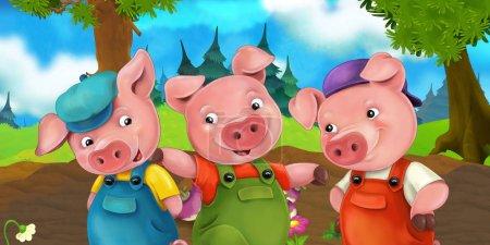 Zeichentrickszene drei Schweinebrüder auf einem Hügel - Illustration für Kinder