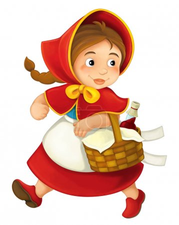 cartoon little girl with lunch basket