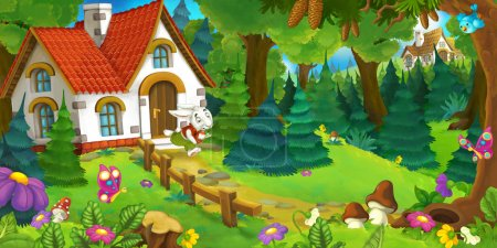 cartoon background of an old house in the forest funny rabbit is hurrying and running illustration for children