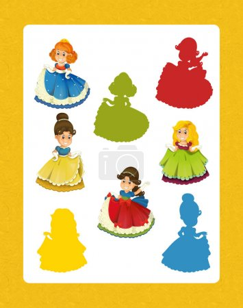 Photo for Cartoon set of beautiful and colorful of medieval princesses - searching game with shadows - Royalty Free Image