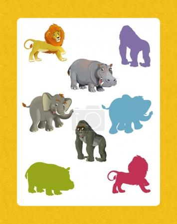 set of happy and funny wild african animals
