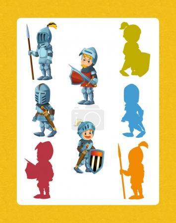 cartoon set of medieval knights