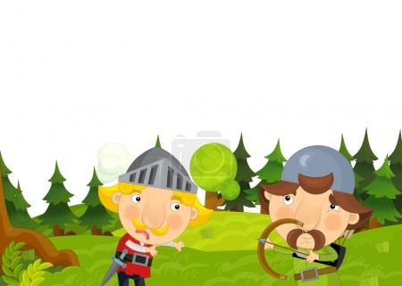 cartoon scene with knights