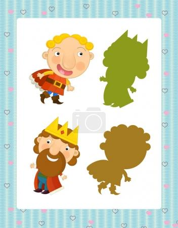 cartoon set of medieval characters king and prince