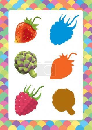cartoon set of fruits