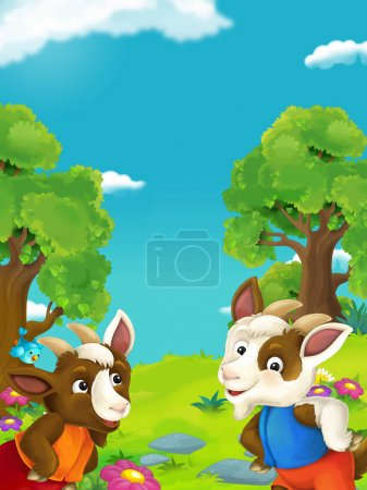 two goats on floral meadow