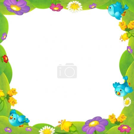 frame with cute birds and flowers