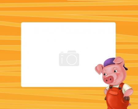 cartoon frame with cute pig