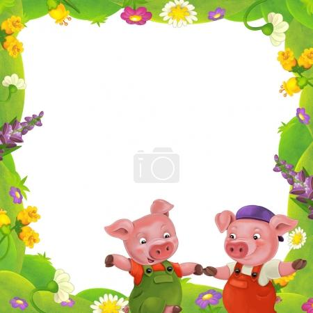 Floral frame with little pigs charachters