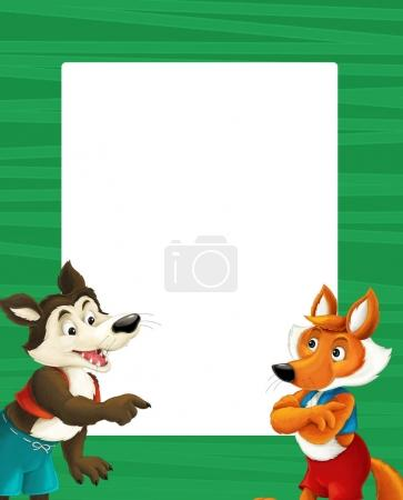 frame with happy cartoon fox and wolf