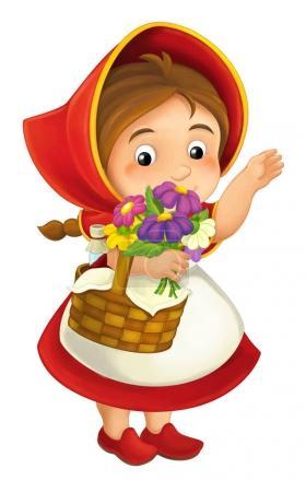 Photo pour Petite fille au capot rouge. Un personnage de conte de fées. illustration pour livre - image libre de droit