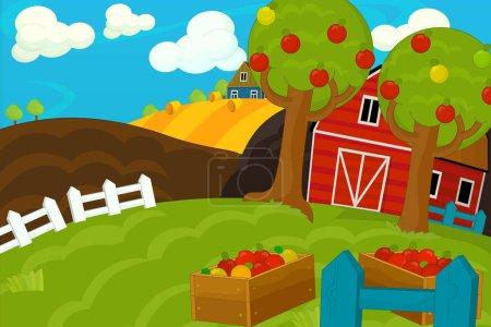 cartoon farm with field