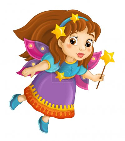 colorful fairy holding wand