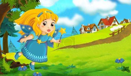 cartoon fairy holding wand